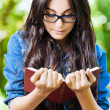 Woman young glasses reading - Stockfoto