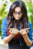 Woman young glasses reading — Stock Photo