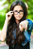 Young woman glasses frown — Stock Photo
