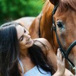 Woman next horse — Stock Photo