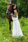 Portrait woman horse — Stock Photo