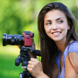 Stock Photo: Portrait young charming woman camera