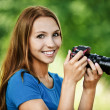 Portrait beautiful young camera — Stock Photo #7362087