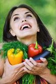 Portrait pretty young woman vegitorianka — Stock Photo