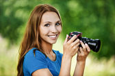 Portrait beautiful young camera — Stock Photo
