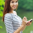 Portrait pretty young woman phone — Stock Photo