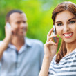 Royalty-Free Stock Photo: Portrait young beautiful happy couple talking phone