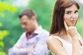 Portrait beautiful romantic young woman sad man — Stock Photo