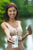 Portrait beautiful young woman glasses money — Stock Photo