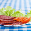 Stock Photo: White plate sliced ​​salami sausage lettuce sliced ​