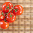 Closeup twig five red tomatoes — Stock Photo