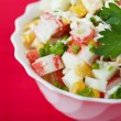 Closeup crab salad white bowl decorated parsley — Stock Photo
