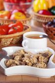 Abundance food meat , vegetables, fruits (stewed chicken, tea, t — Stock Photo