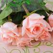 Bouquet five pink roses background table - Zdjęcie stockowe