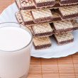 Chocolate wafers, glass milk - Foto Stock
