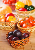 Vegetables, fruits plums, apples, pumpkins, peppers, tomatoes — Stock Photo