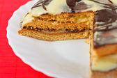 Piece cake cream frosting decorated — Stock Photo