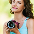 Portrait young charming holding hands camera — Stockfoto #7581583