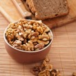 Stock Photo: Purified walnuts, rye bread