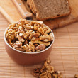 Purified walnuts, rye bread — Stock Photo