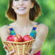 Portrait young charming woman basket apples — Stock Photo