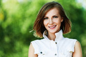 Portrait young charming short-haired woman — Stock Photo