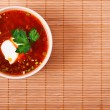 Bowl of borscht on bamboo table cloth - Stock Photo