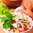 Cooked lunch: salad, soup and cutlets — Stock Photo