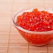 Red caviar in bamboo table cloth - Lizenzfreies Foto