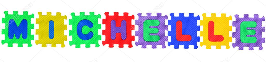 The name MICHELLE made of letter puzzle, isolated on white background. — Stock Photo #7703036