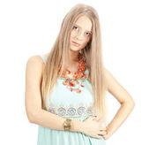 Beautiful woman with elegant sundress. Fashion photo — Stock Photo