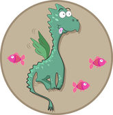 Green dragon with fish — Stock Photo