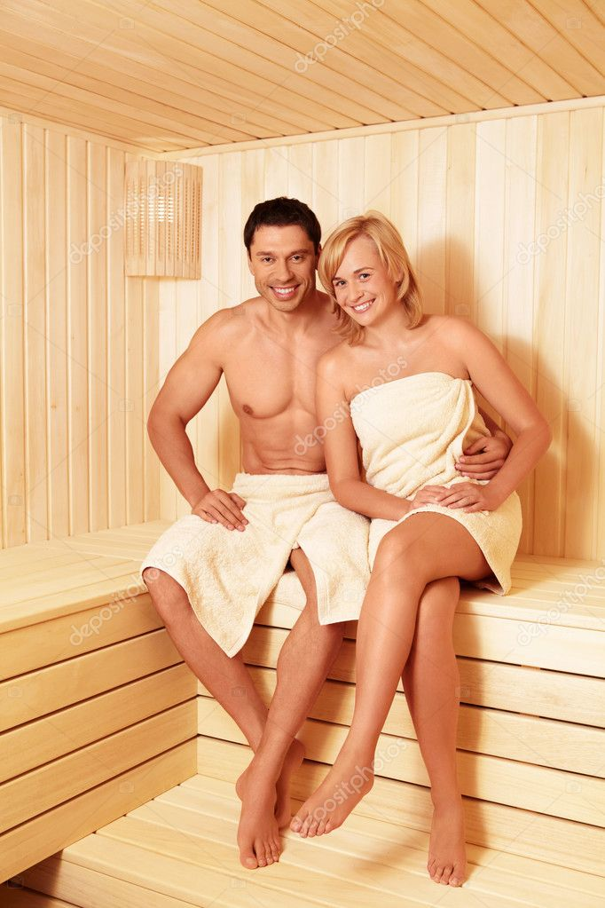 Young couple in sauna — Stock Photo #7458561