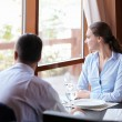 Couple in a restaurant — Stock Photo