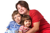 Portrait mothers with children on white close up — Stok fotoğraf