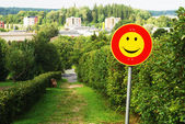 Smiley traffic sign — Stock Photo