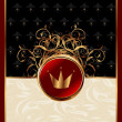 Gold invitation frame with crown or packing for elegant design — Stok Vektör