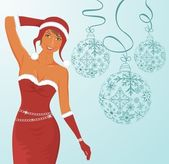 Christmas background with sexy lady and balls — Stock Vector