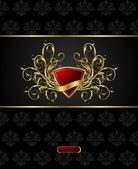 Floral packing with heraldic shield — Cтоковый вектор
