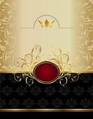 Роскошный золотой ярлык с гербом — Cтоковый вектор