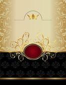 Luxury gold label with emblem — ストックベクタ