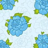Beautiful pattern with blue flowers — Stockvector
