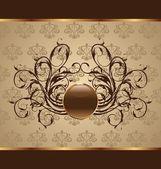 Altın çiçek ambalaj, tasarım öğesi — Stok Vektör