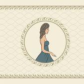 Invitation vintage avec fille, croquis style — Vecteur