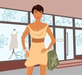 Fashion shopping girl near shop — Stock Vector