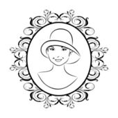 Vintage girl face in hat — Stock Vector