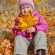 Little girl with yellow leaves — Stock Photo #7182933