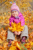 Little girl in autumn forest — Stock Photo