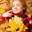 Woman with autumn leaves — Foto de Stock
