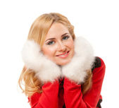 Woman in red sweater — Stock Photo